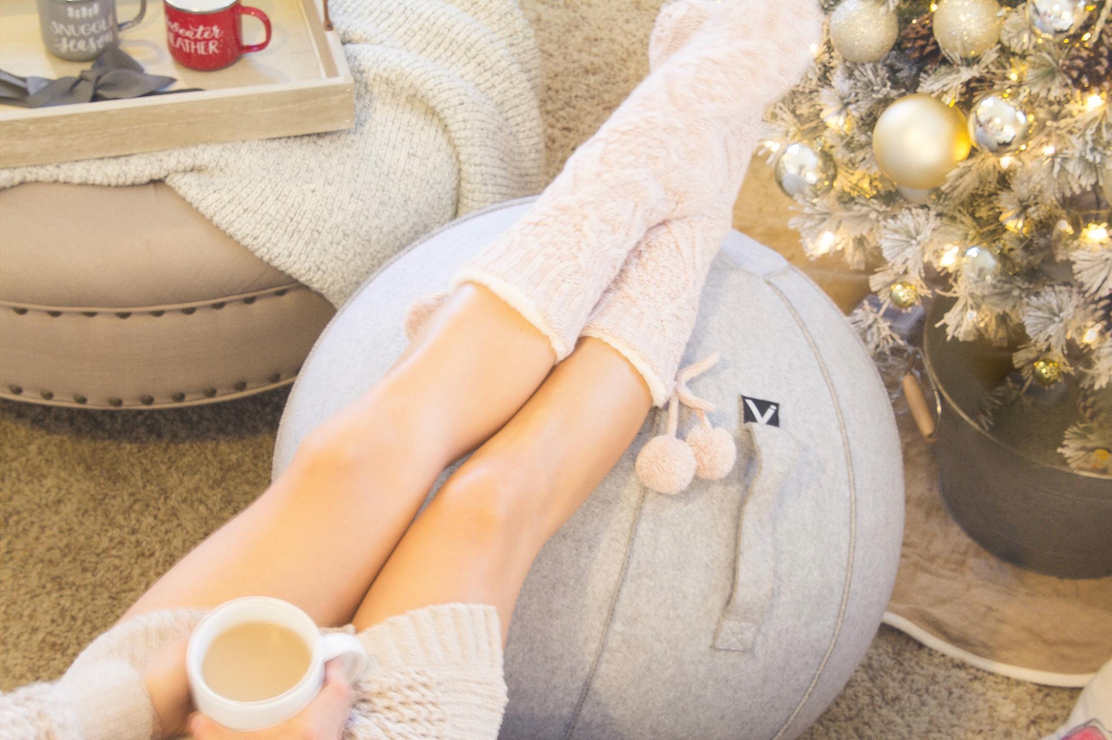 woman legs luno sitting ball